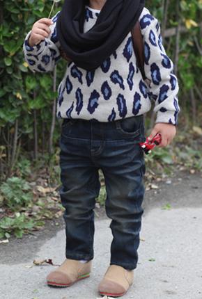 NO。(子供のジーンズ)-112ボンディング起毛スパン排気された真冬でも暖かく。