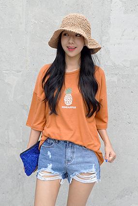 ★夏限定★ <BR> Tシャツ一律料金<BR>パイナップルT-チャーコール/青色/ネイビー